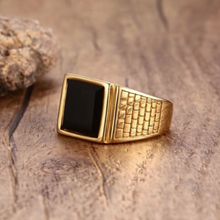 Load image into Gallery viewer, 18ct Yellow Gold Plated Stainless Steel 316L High Quality Ring with Black