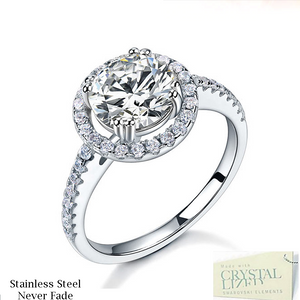 Highest Quality Titanium Stainless Steel 316L Halo Ring with Swarovski Crystals