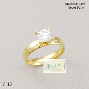 Yellow Gold Plated Stainless Steel Solitaire Ring with Swarovski Crystal