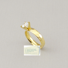 Load image into Gallery viewer, Yellow Gold Plated Stainless Steel Solitaire Ring with Swarovski Crystal