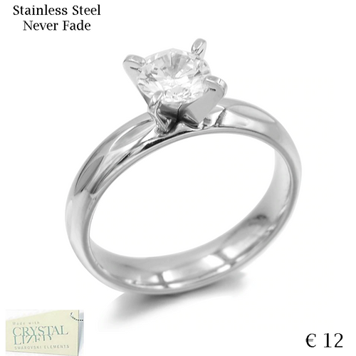 White Gold Plated Stainless Steel Solitaire Ring with Swarovski Crystal