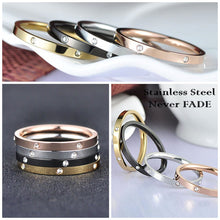 Load image into Gallery viewer, 4 in 1 Stainless Steel 4 Tone Ring Silver Rose Gold Black Yellow Gold