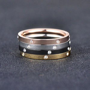 4 in 1 Stainless Steel 4 Tone Ring Silver Rose Gold Black Yellow Gold