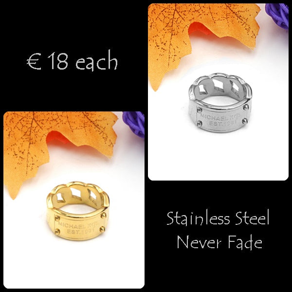 Stainless Steel Chain Ring Never Fade Yellow Gold Plated Silver