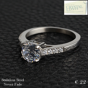 Stainless Steel Solitaire Ring with Swarovski Crystals
