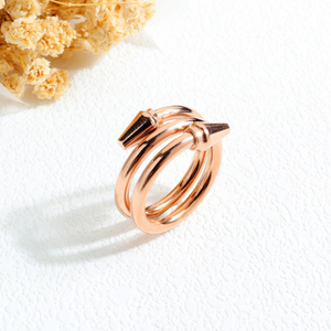 Beautiful Stainless Steel Rose Gold Nail Ring