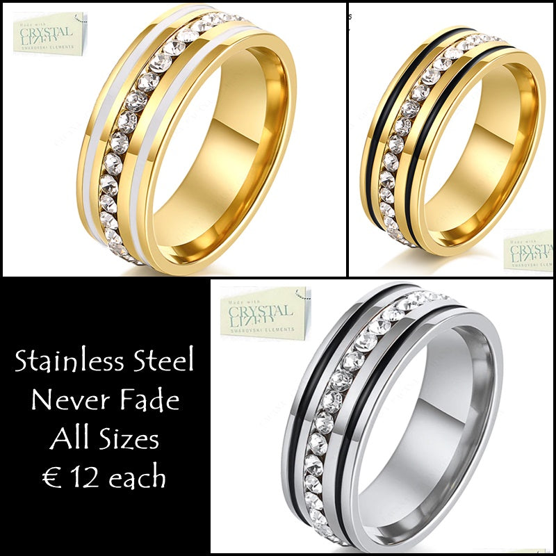 Titanium Stainless Steel 316L Ring Yellow Gold Plated and White Gold Plated with Swarovski Crystals