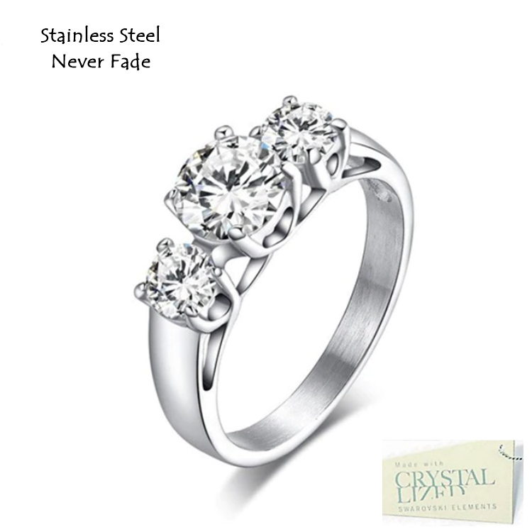 Stainless Steel 316L Trilogy Ring with Swarovski Crystals