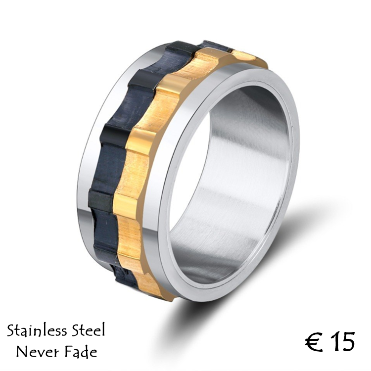 Stainless Steel 316L High Quality 3 Tone Men's Spin Ring