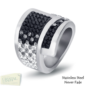 Highest Quality Stainless Steel 316L Ring with Black and Clear Swarovski Crystals