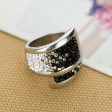 Load image into Gallery viewer, Highest Quality Stainless Steel 316L Ring with Black and Clear Swarovski Crystals