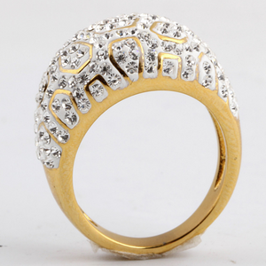 Highest Quality Stainless Steel 316L Yellow Gold Tone Ring with Sparkling Swarovski Crystals