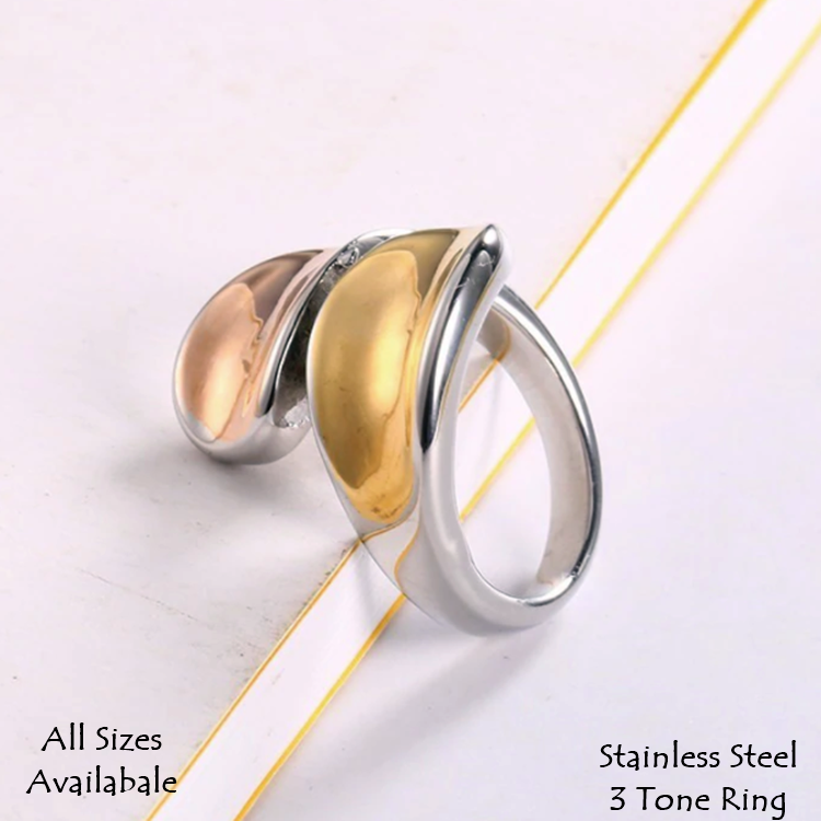 Stainless Steel 3 Tone Stylish Wrap RING