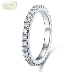 Highest Quality Titanium Stainless Steel 316L Full Eternity Ring with Swarovski Crystals