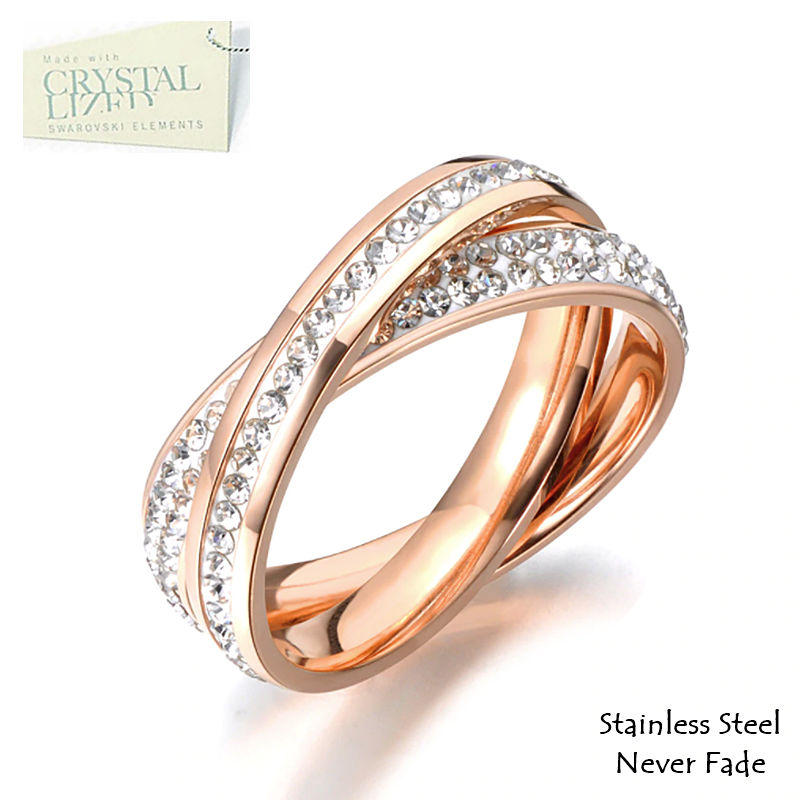 Stainless Steel 316L 2 in 1 Ring Rose Gold Plated with Sparkling Swarovski Crystals