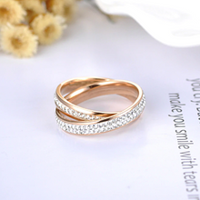 Load image into Gallery viewer, Stainless Steel 316L 2 in 1 Ring Rose Gold Plated with Sparkling Swarovski Crystals
