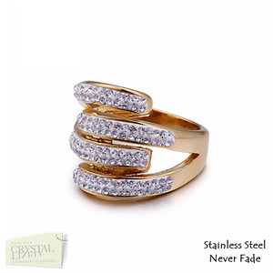 Stainless Steel 316L Stylish Ring Yellow White Gold Plated with Sparkling Swarovski Crystals