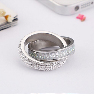 Stainless Steel 316L 2 in 1 Ring Yellow White Gold Plated with Sparkling Swarovski Crystals