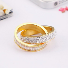 Load image into Gallery viewer, Stainless Steel 316L 2 in 1 Ring Yellow White Gold Plated with Sparkling Swarovski Crystals