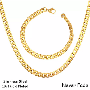 Stainless Steel 316L Gold Plated Curb Chain Set Necklace Bracelet