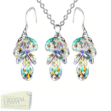 Load image into Gallery viewer, Swarovski Crystals Gold Plated Water Drops Set Necklace and Matching Earrings