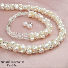 Load image into Gallery viewer, Fabulous Natural Freshwater Pearl Set Earrings Necklace and Bracelet