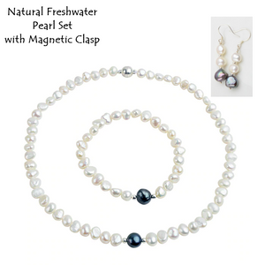 Elegant Natural Freshwater Pearl Set Earrings Necklace and Bracelet