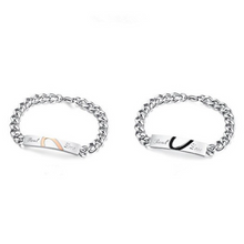 Load image into Gallery viewer, Stainless Steel Couple His and Hers Half Heart Bracelets Set