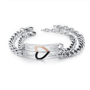 Stainless Steel Couple His and Hers Half Heart Bracelets Set