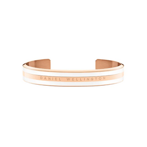 Stainless Steel Classic Cuff Bracelet Satin White Rose Gold Plated Silver