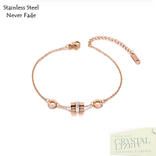 Load image into Gallery viewer, Rose Gold Stainless Steel 316L Bracelet with Swarovski Crystals