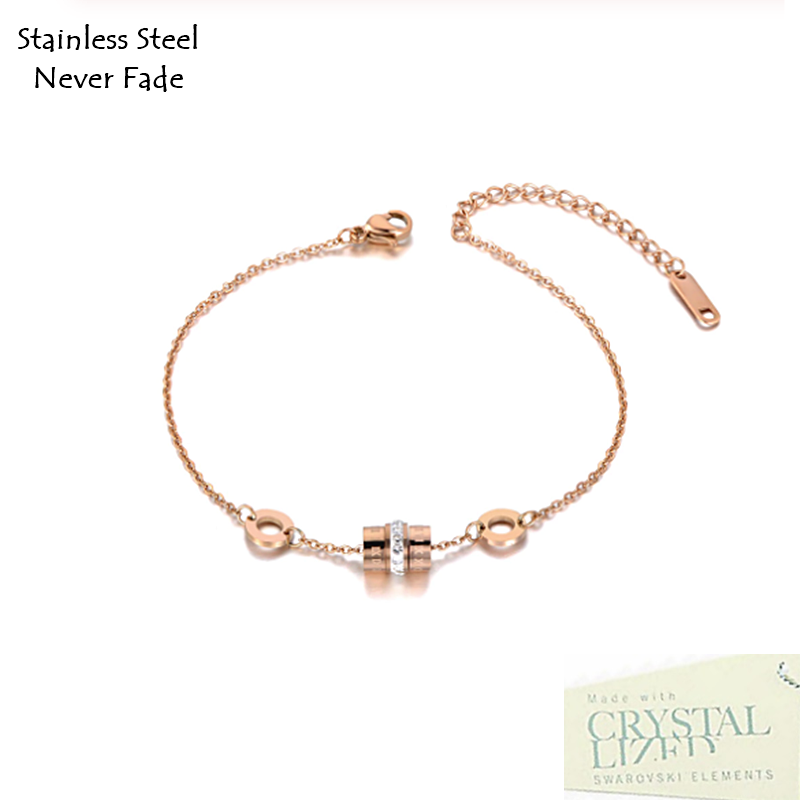 Rose Gold Stainless Steel 316L Bracelet with Swarovski Crystals