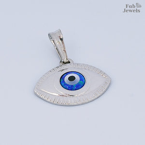 Sterling Silver Evil Eye Lucky Charm Pendant Free Chain