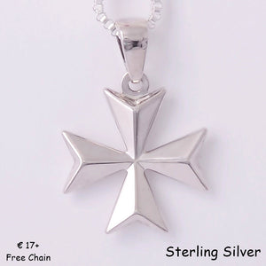 MALTESE CROSS  Sterling Silver 925 Pendant Free Chain