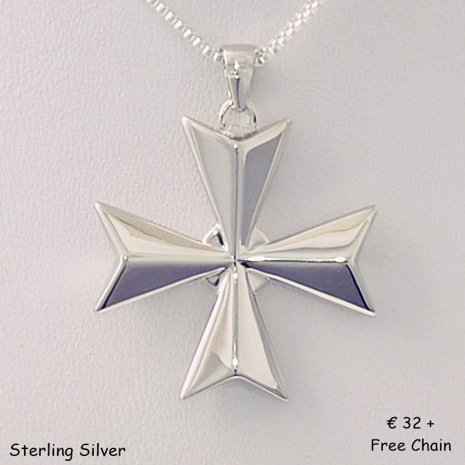 MALTESE CROSS  Sterling Silver 925 Large Pendant Free Chain