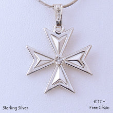 Load image into Gallery viewer, MALTESE CROSS  Sterling Silver 925 Pendant with Cubic Zirconia Free Chain