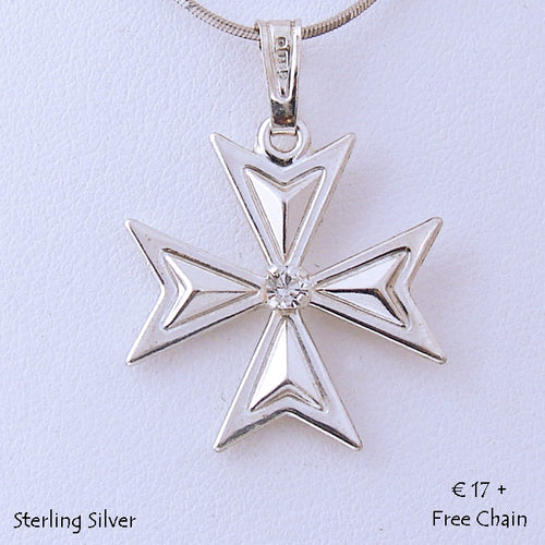 MALTESE CROSS  Sterling Silver 925 Pendant with Cubic Zirconia Free Chain
