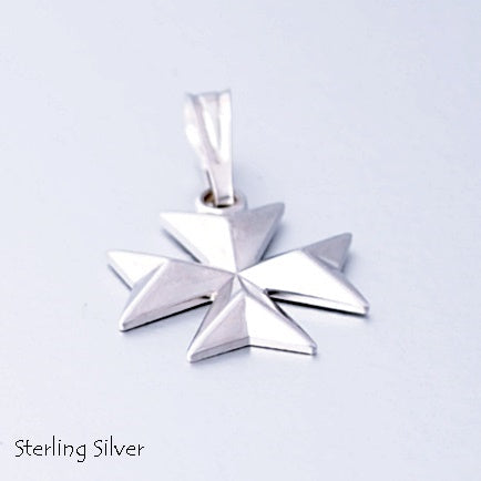MALTESE CROSS  Sterling Silver 925 Solid Pendant Free Chain