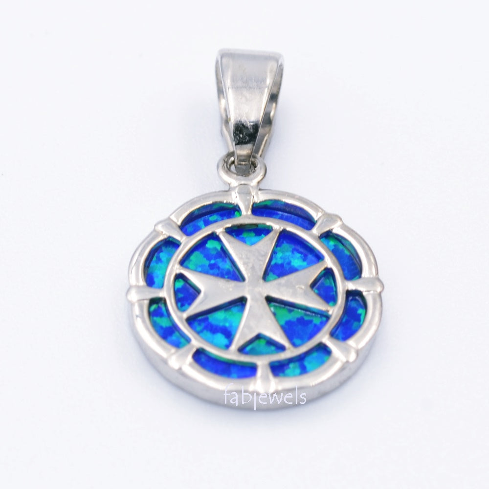 MALTESE CROSS Sterling Silver 925 Blue Opal Round Pendant Free Necklace