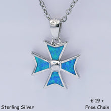 Load image into Gallery viewer, MALTESE CROSS Sterling Silver 925 Blue Opal Pendant Free Chain