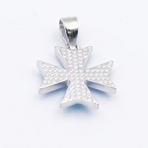 MALTESE CROSS Sterling Silver 925 Blue Opal Pendant Free Chain