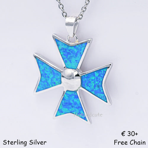 MALTESE CROSS Sterling Silver 925 Blue Opal Large Pendant Free Necklace