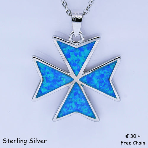 Beautiful MALTESE CROSS Sterling Silver 925 Blue Opal Pendant Free Chain