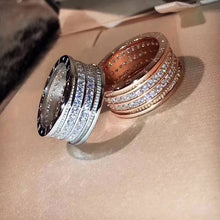 Load image into Gallery viewer, Stainless Steel Rose Gold / White Gold Plated Rings with Swarovski Crystals