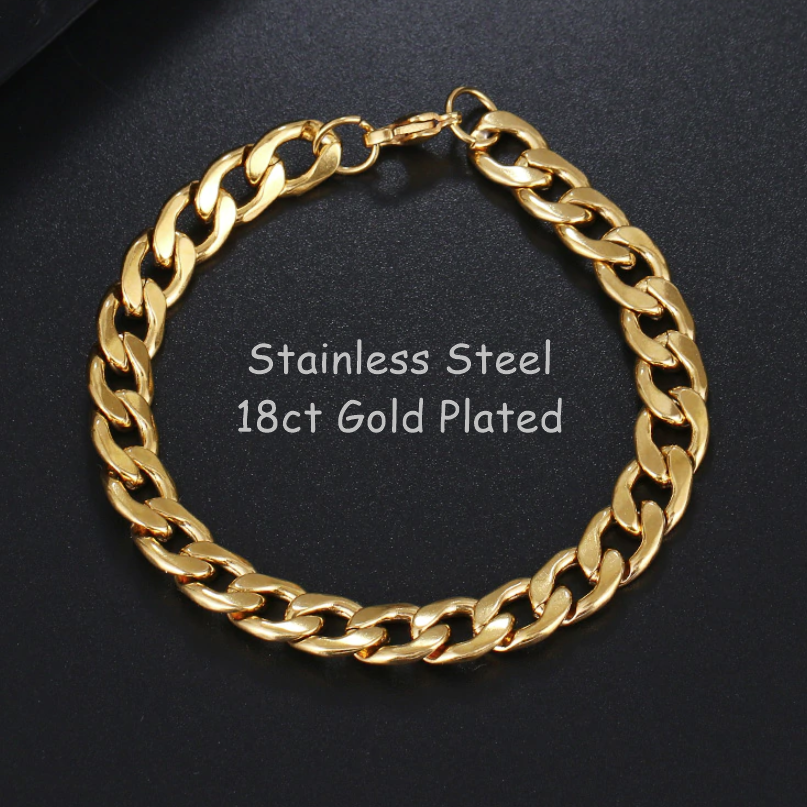 Stainless Steel 316L Gold Plated Curb Chain Bracelet