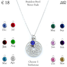 Load image into Gallery viewer, Stainless Steel Necklace Hollow Dainty Pendant Personalized Birthstone Charm