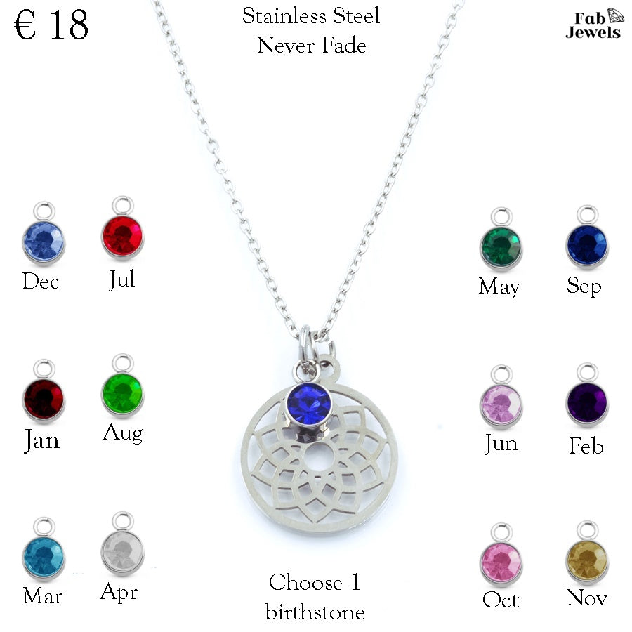Stainless Steel Necklace Hollow Dainty Pendant Personalized Birthstone Charm