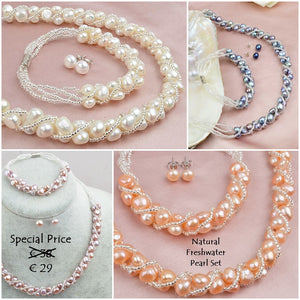 Fabulous Natural Freshwater Pearl Set Earrings Necklace and Bracelet