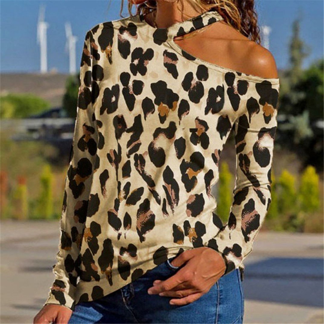 4329a3852e Fashion Leopard Print One Shoulder T Shirts – milabeen