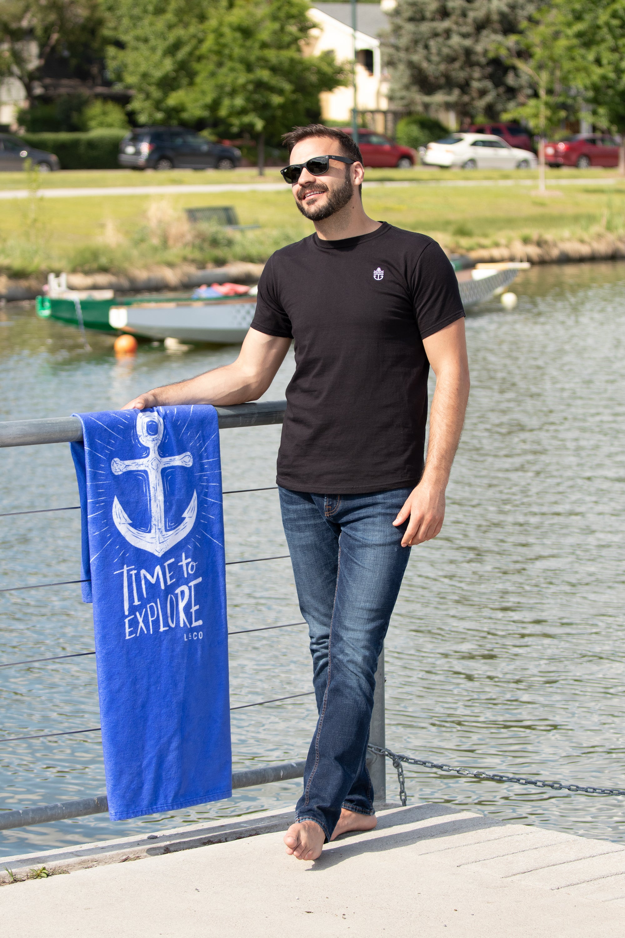 Anchor on Black Organic Unisex T-Shirt